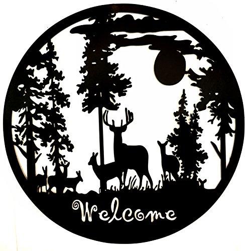 Bellaa 21895 Laser Cut Metal Wall Art Deer Pine Forest Mountain Lodge Woodland Cabin Decor 24 inch