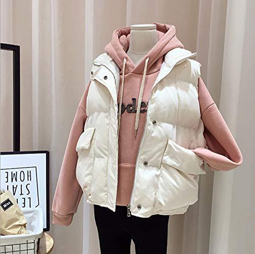 GL SUIT Frauen-Padded Gilet Leichte Körperwärmer Weste Stehkragen Zip Gilet Außen Gesteppte Weste beiläufige Sleeveless Winter-Jacken-Mantel für Reisen Wandern,Beige,M