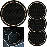 tunfo 4pcs 2.75' Bling Decor Crystal Rhinestone Car Cup Holder Coaster Insert Cup Mat,Car Bling Ring Emblem Sticker Bling Car Accessories for Home and Interior Car Decor Accessory, AB