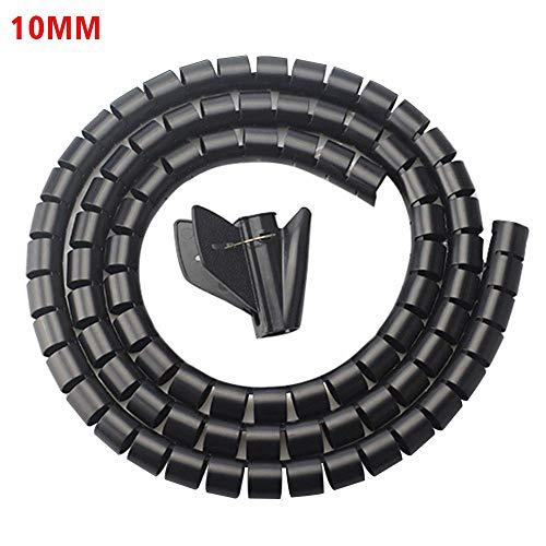 Funda para cable BGY de 2 m para el hogar, oficina, para ordenador, TV, sy, organizador de cables, duradero con clip flexible de PE (10 mm), color negro, No nulo, negro, 10 mm