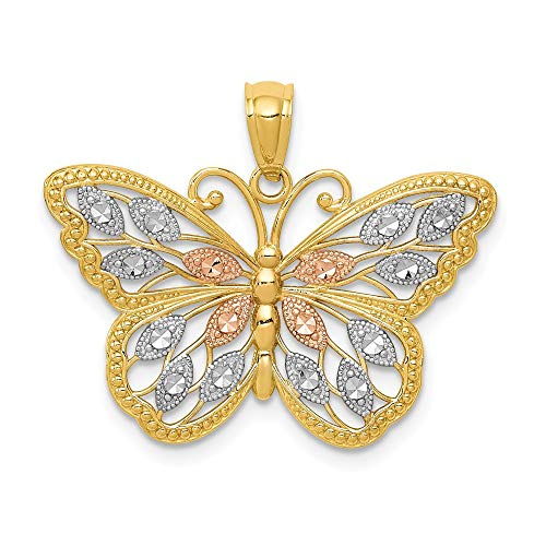14k Yellow Gold White Rose Butterfly Pendant Charm Necklace Animal Fine Jewelry For Women Gifts For Her