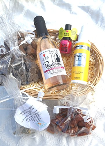 LUXURY GIFT WRAPPED DOG EASTER VALENTINE CHRISTMAS BIRTHDAY GIFT HAMPER FOR HER WITH HEART TAG, DOG WINE, DOG TEA, TREATS, PERFUME AND NAIL POLISH - FOR THE TRUE LOVE OF YOUR LIFE