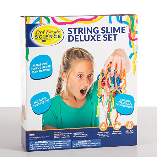 Steve Spangler Science String Slime Deluxe Kit, Includes Pink, Blue, Yellow & Clear (3.4 oz. Each) – DIY Slime Science Experiment Kit for Kids, Learn/Teach Science of Polymers, Exciting STEM Activity