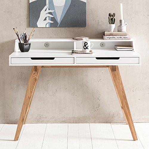 Wohnling Schreibtisch SKANDI 110 x 85 x 60 cm MDF-Holz skandinavisch weiß matt Arbeitstisch | Design Laptoptisch mit Kabeldurchlass | Bürotisch mit Eiche-Beinen