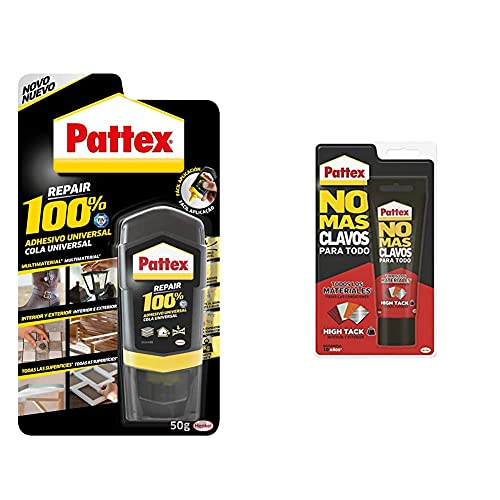 Pattex 100%, pegamento multimaterial transparente + No Mas Clavos Para Todo HighTack Adhesivo de montaje resistente a temperaturas extremas, pegamento fuerte en superficies húmedas, Blanco