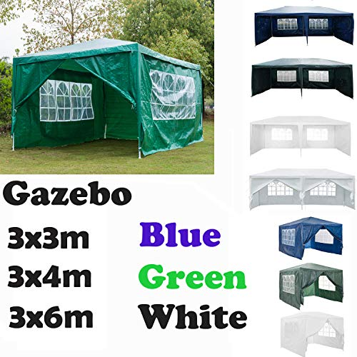 AutoBaBa Garden Gazebo Marquee 3x4x2.5m - Green - Garden Tent Outdoor Party Tent Steel Tube Strong Marquee, with Sidewalls Side Panels