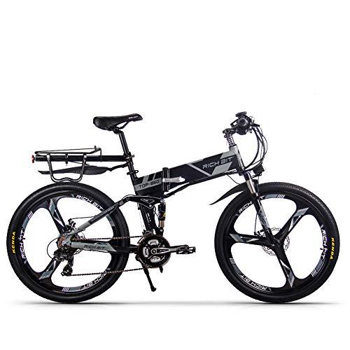 RICH BIT TOP-860 Bicicletta pieghevole elettrica 26 pollici 36 V 250 W 12,8 Ah Bicicletta da città a sospensione completa Bicicletta da montagna pieghevole elettrica (Grigio nero)