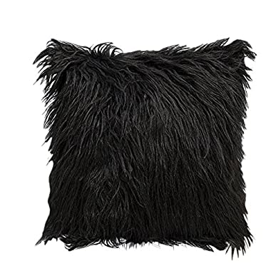 Luxsea 1PC Nordic Posh Style Home Decor Super Soft Plush Mongolian Faux Fur Throw Pillow Cover Cushion Case Pillowcase Square Multi Colors 18