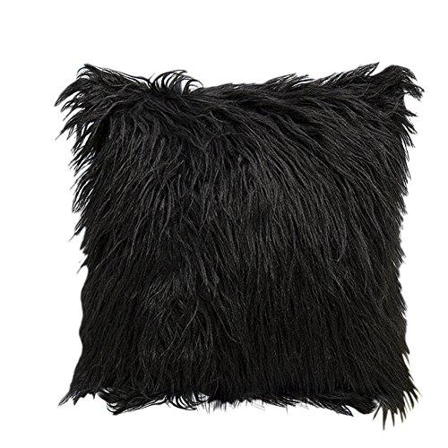 N/X Funda de cojín de lana sintética de estilo nórdico, elegante, muy suave, de felpa de Mongolia, funda de cojín para sofá, dormitorio, coche, 45,72 x 45,72 cm