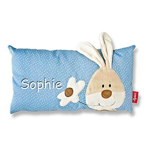 Sigikid Babykissen mit Namen bestickt Kissen 33x18 cm Geschenk zur Taufe zur Geburt, Motiv Sigikid Baby:Semmel Bunny