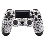 eXtremeRate Textured White Faceplate Cover, 3D Splashing Front Housing Shell for Playstation 4 PS4 Slim PS4 Pro Controller (CUH-ZCT2 JDM-040/050/055) - Controller NOT Included