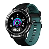 GOKOO Smart Watch Sport Activity Tracker Waterproof Smartwatch for Men with Blood Pressure Heart Rate Sleep Monitor Breathing Train Step Distance Calorie Full Touch Camera Music Control (Black-Green)