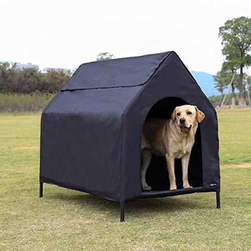 AmazonBasics Erhöhte, tragbare Haustier-Hütte, Größe L, Schwarz