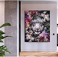 キャンバスに印刷ジクレー動物の壁アートポスターキャンバスにジャングルタイガーヒョウの絵を印刷写真ホームウォールユニークな装飾壁画-50x70cmフレームなし
