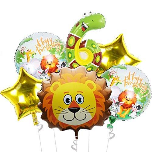 DIWULI un Gran Juego, 1x Bola de león Dulce + Ball + 2X Estrella números Balón de Oro + 2X Papel de Pet Chicos Chicas Globo Fiesta del Tema de la decoración de cumpleaños de los niños, decoración,