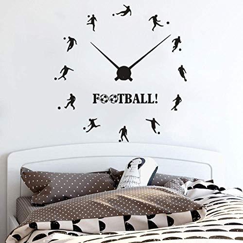 Muursticker Voetbal Klok Muurstickers Vinyl Voetbal Sport Muursticker Jongens Tiener Kamer Decoratie Voetbal Spelers Wandposter 42X44Cm