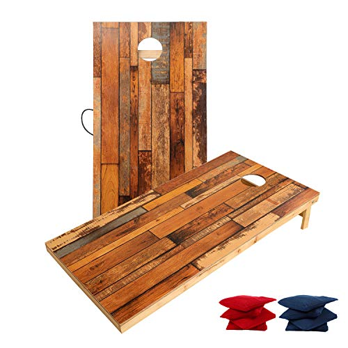 TIANNBU Wood Cornhole Game Set Regulation 2 x 4 Feet Cornhole Borad Bean Bags Toss Game, Official Cornhole Set All Weather Indoor Outdoor with 8 Bean Bags Perfect for Christmas Birthday Gift