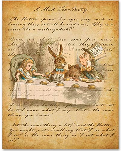 Mad Hatter - A Mad Tea-Party - 11x14 Unframed Alice in Wonderland Print - Great Nursery and Childrens Room Decor and Gift Under $15 for Lewis Carroll Fans