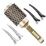 AIMIKE メンズ 丸いブラシナノイノシシ毛と熱的にセラミック・イオン技術ヘアブラシラウンドバレルブラシ毛乾燥スタイリングカーリング 用 質感を高め、+ 4つ フリークリップを照らします 2.1インチ ゴールデン
