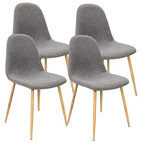 Deuba 4er Set Esszimmerstühle Küchenstühle Polsterstühle Design Bequem Gepolstert 120 kg belastbar Stoff-Bezug Dunkelgrau
