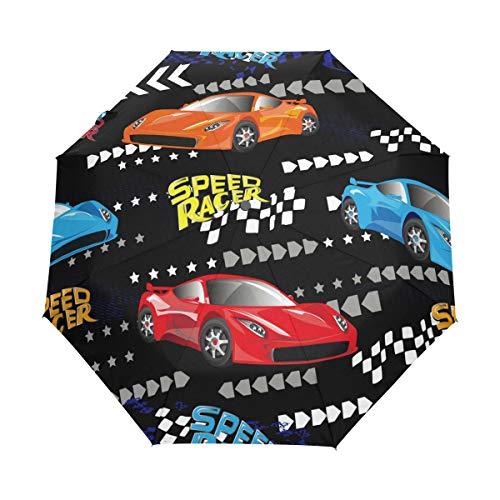 Speed Racer farbenfroher Auto-Regenschirm, kompakter Reise-Regenschirm, faltbarer Regenschirm, winddicht, verstärkter Baldachin, UV-Schutz, ergonomischer Griff, automatisches Öffnen/Schließen