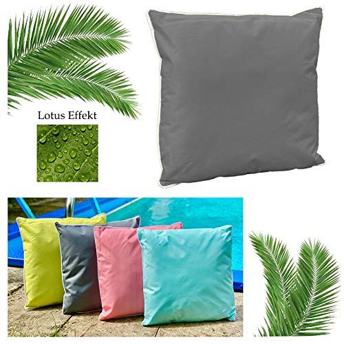 heimtexland ® Outdoorkissen Dekokissen Lotus Effekt Schmutz- und Wasserabweisend Garten Outdoor Kissen Tropical 45x45 Anthrazit Typ687