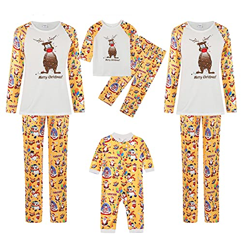 Familia a juego pijamas Navidad vacaciones ropa de dormir conjuntos de manga larga pijama ciervo ropa de dormir conjuntos de alce pijama, H-amarillo., L