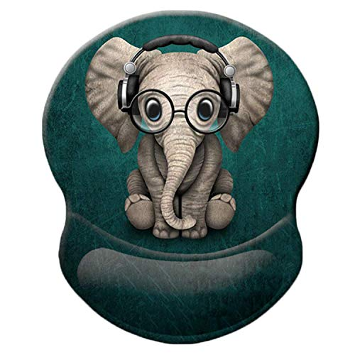 Ergonomic Mouse Pad with Gel Wrist Rest Cute Green Headset Music Elephant Pattern Comfortable Mouse Pad with Wrist Support, Pain Relief Mousepad with Non-Slip PU Base for Home, Office, Travel