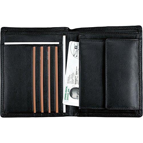 Alassio 42055 - Kombibörse mit RFID-Folie im Hochformat, aus hochwertigem Nappaleder, ca. 12,5 x 10 x 2 cm, schwarz