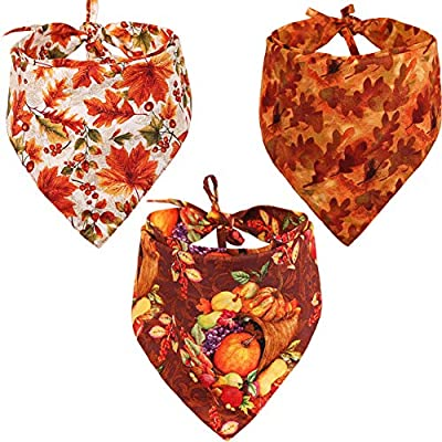 KZHAREEN 3 PCS/Pack Thanksgiving Dog Bandana Reversible Triangle Bibs Scarf Accessories for Dogs Cats Pets