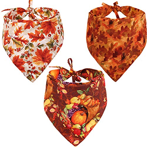 KZHAREEN 3 PCS/Pack Thanksgiving Dog Bandana Reversible Triangle Bibs Scarf Accessories for Dogs Cats Pets Large