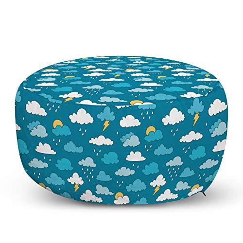ABAKUHAUS Kindergarten Hocker, Sky Regen-Wolken Bolts Sun, Dekorative Weiche Fußstütze und Reißverschlusshülle Osmanisches Wohn-und Schlafzimmer, Sea Blue Weißer Senf