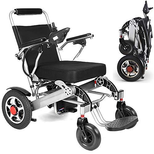 ZDYLM-Y Elektrischer Rollstuhl Faltbar, Kompakter Mobilitätshilfe-Rollstuhl, tragbarer Rollstuhl im Aluminium-Design, passend für jeden Kofferraum,Silber