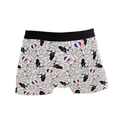 ZZKKO French Bulldog Mens Boxer Briefs Underwear Breathable Stretch Boxer Trunk with Pouch L White