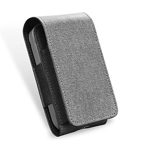 Tasche für Elektronische iQOS 2.4 - Zigarette, Schutzhülle/Halterung, Platz für Geldbeutel, aus Kunstleder, mit Kartenhalter, Magnetabdeckung, Grau