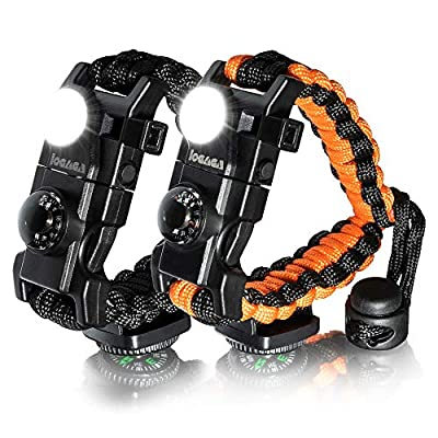 Survival Paracord Bracelet, The Ultimate Tactical Survival Gear with SOS LED Light, Bigger Compass, Whistle, Fire Starter, Thermometer for Camping Hiking Outdoors - Set of 2 (Black/Orange)