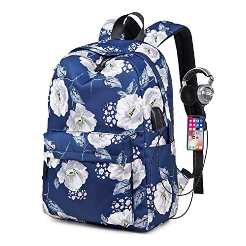 HFQJTU Laptop Backpack For Women Fits 15.6 Inch With USB Charging Port,Durable Water Resistant Casual Daypack Laptop Backpack For Women/Girls/Travel/Business(Rose Pattern) (Color : Dark Blue)