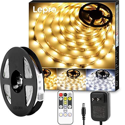 Lepro テープライト ledテープ 5m 電球色・昼白色・昼光色 明るさ調整 間接照明 リモコン付き 調光調色 イルミネーションライト 3ピン 2835SMD カット可能 取付簡単 非防水 店舗 室内 ホーム装飾用 DIY ledテープライト