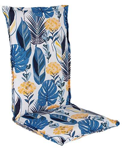 Spetebo Pflegeleichtes Polster für Hochlehner - blau - Gartenstuhl Auflage mit Haltegurt - Sitzkissen Stuhlauflage (Modell 7)