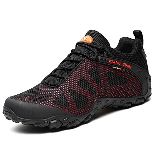 XIANG GUAN Hommes Mesh Respirant Outdoor Off-Road Running Randonnée Chaussures Trekking Camping Sneakers Lace-up Low-Top Sports Casual Footwear (42 EU, Noir-Rouge)
