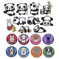 パッチ、Tシャツのジーンズ、ジャケット、バックパック、靴の装飾や修理に使用されます。漫画の動物パンダの子犬18個