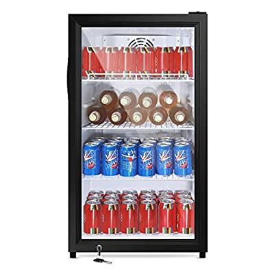 SYCEES Beverage Refrigerator and Cooler with Lock-3.46 Cu.Ft. 126 Cans Mini fridge with LED light & Glass Door, Adjustable Shelves for Soda,Beer, Wine, Perfect for Basements/Home/Bar/Cafe/Office