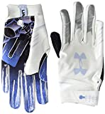 Under Armour Boys' F7 Youth Novelty Football Gloves , White (103)/Metallic Silver , Youth Small