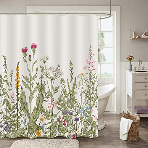"MitoVilla Vintage Florals Shower Curtain for Women and Girls Bathroom Decor, Shabby Chic Farmhouse Herbs and Wild Flowers Art Print, Washable Fabric Bathroom Accessories, Green, 72"" W x 72"" L"