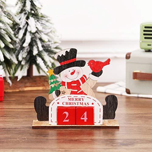 Yesoa 1 Set Holz Weihnachten Dekor Block Kalender für Zuhause Cartoon Holz Weihnachten Adventskalender Kreative Weihnachten Ornament Schneemann Weihnachten Dekoration Geschenke