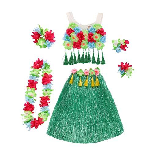 Amosfun Hawaii Performance Costume Tropical Hula Grass Tanzrock Blume Armbänder Kopf Schleife Hals Kranz Set