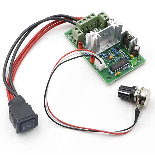 RioRand Upgraded Adjustable DC Motor Speed PWM Controller 10V 12V 24V 30V Reversing Switch 120W