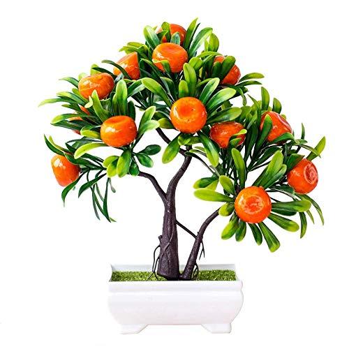 Plantas artificiales, 1 pieza de fruta artificial, árbol de naranja, bonsái, hogar, oficina, jardín, escritorio, fiesta, decoración portátil y útil