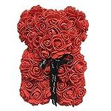 Diafrican - Oso de peluche hecho con rosas artificiales, hecho a mano, regalo de amor para el Día de la Madre, Día de San Valentín, aniversario y despedidas de soltera