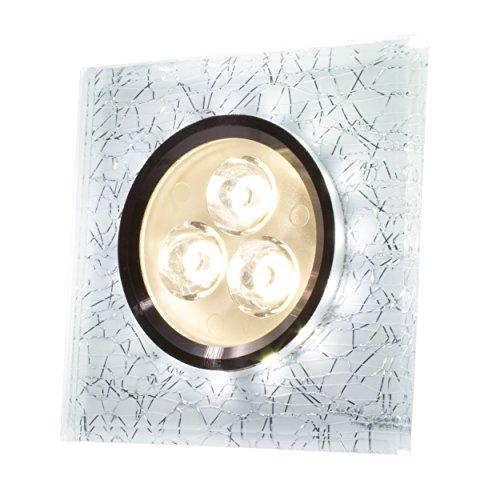 SpiceLED Einbaupanel   CrushLED   6W neutralweiß Effektlicht kaltweiß   Quadratische LED Einbauleuchte   Fullbody-Glas Bruchdesign   dimmbar